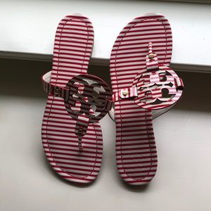 Tory Burch Miller red and white sandals size 9.5